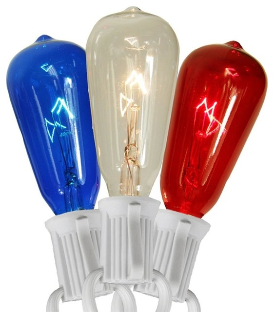 St40 Edison-Style 4th Of July Christmas Lights, Clear/red/blue