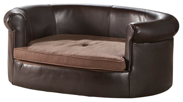 GDF Studio Cassie Oval Dark Coffee and Brown Leather Dog Sofa ...