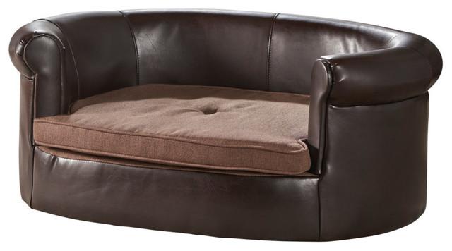 GDF Studio Cassie Oval Dark Coffee and Brown Leather Dog Sofa