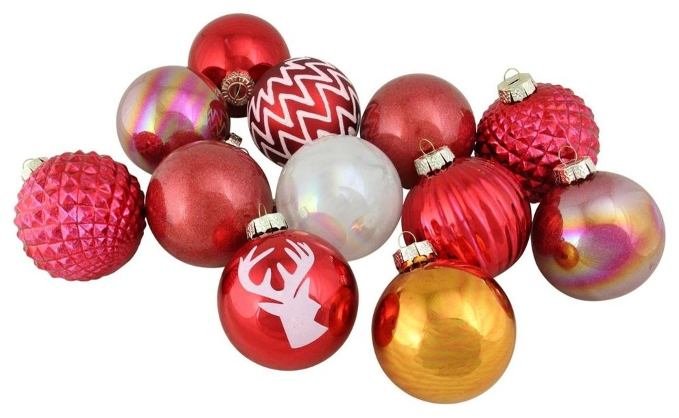 12 Piece Multicolored Multitextured Decorated Ornament Set 3 Contemporary Christmas Ornaments By Northlight Seasonal