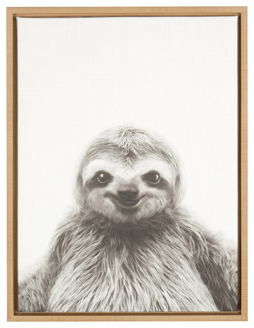 Sylvie Sloth 18x24, Natural Framed Canvas Wall Art By Simon Te Tai.
