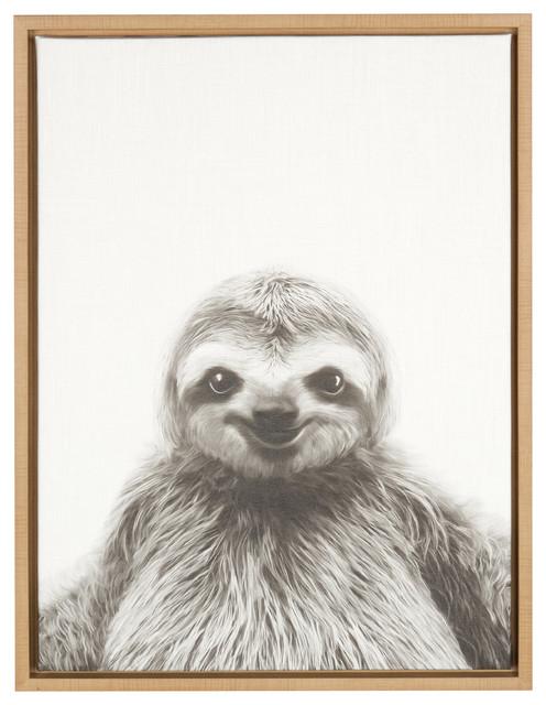 Sylvie Sloth 18x24, Natural Framed Canvas Wall Art By Simon Te Tai. -1