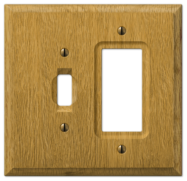 Carson Light Finish Oak Wood 1 Toggle 1 Rocker Wall Plate