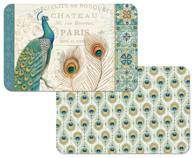 majestic beauty peacock vinyl plastic placemats