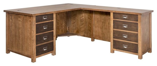 L-Shaped Desk, Hickory Finish.