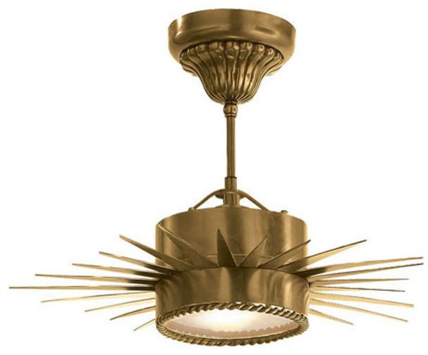 Suzanne Kasler Soleil 1-Light Flush Mount, Hand-Rubbed Antique Brass.