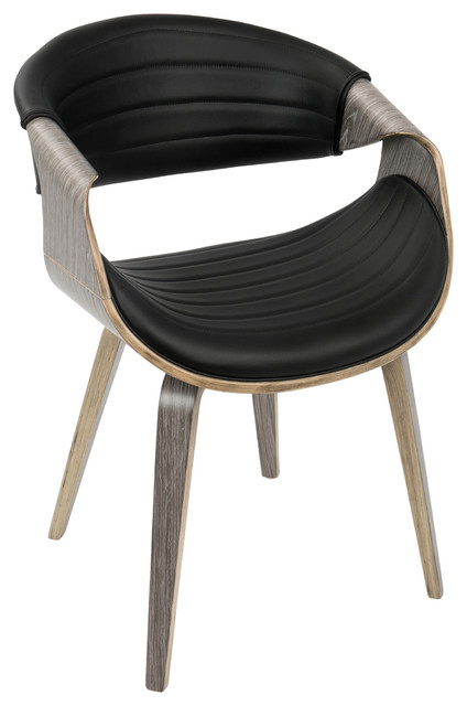 symphony midcentury modern dining chair light gray wood and black pu midcentury
