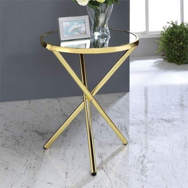 Acme Lajita End Table, Mirror And Gold.