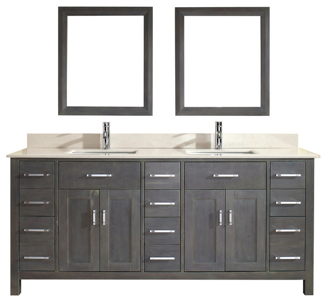 Grey And Beige Bathroom: Kalize 75'' Vanity Set, French Gray And Solid Surface