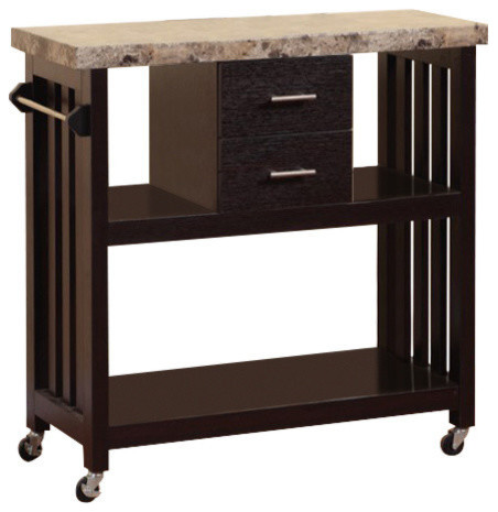 Contemporary Style Kitchen Cart With Faux Marble Top & 2 Drawers.