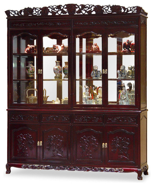 72 Rosewood French Queen Ann Grape Motif China Cabinet Asian Cabinets