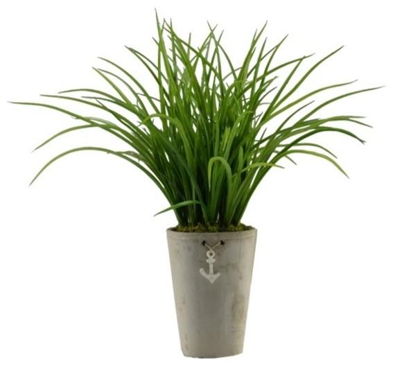 23 Quot Grass In Nautical Ceramic Pot 2049 Beach Style