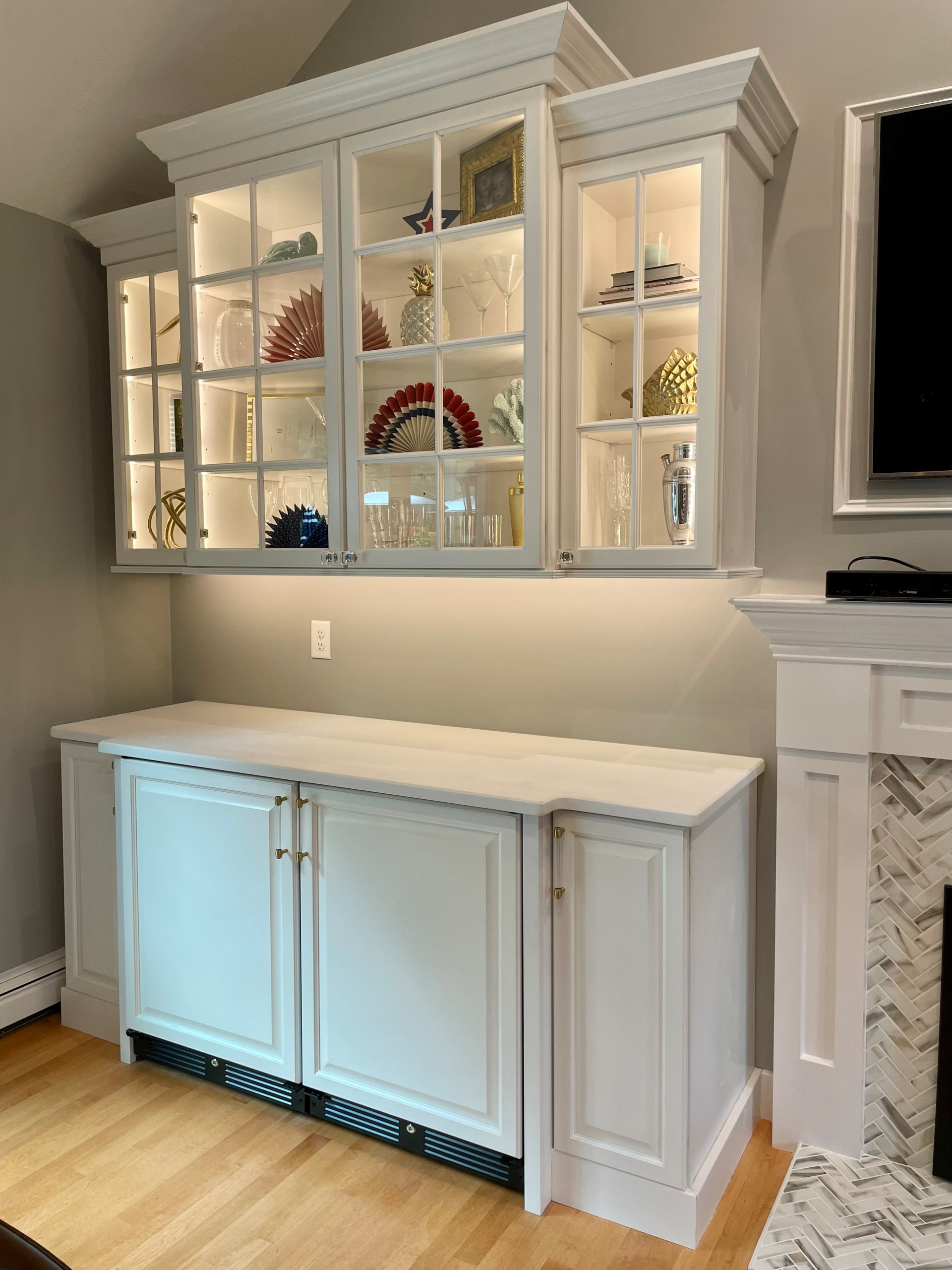 Marshfield Family Room Fireplace and Custom Cabinetry