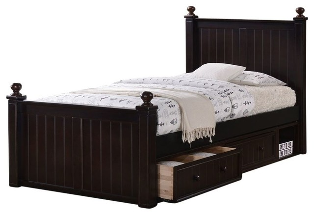 Foster Extra Long Panel Bed With Storage Drawers, Twin Size.