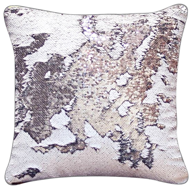 Rice White Silver Sequin Mermaid Pillow Matte 15