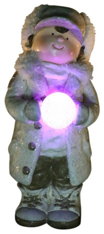 Christmas Boy Holding Snowball With Led Light.