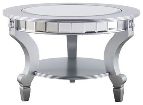 Lindsay Glam Mirrored Round Cocktail Table Matte Silver
