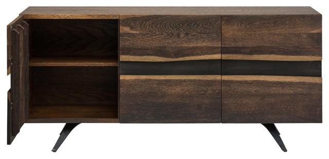 Vega 3 Door Vertical Oak Sideboard Cabinet Midcentury