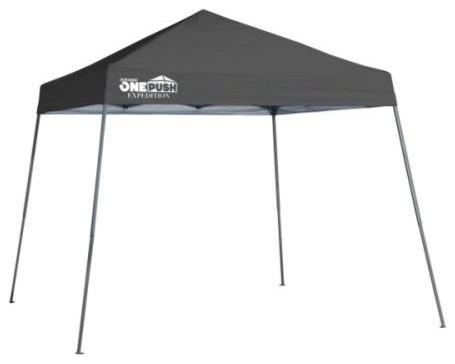 Shelter Logic 10&x27;x10&x27; Quik Ex64 One Push Slant Leg Canopy, Charcoal.