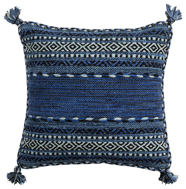 Trenza Southwest Blue And Black Throw Pillow.