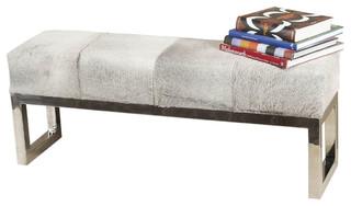Interlude Home Moro Hide Polished Steel Bench 145036