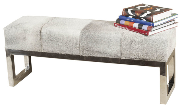 Interlude Home Moro Hide Polished Steel Bench 145036.