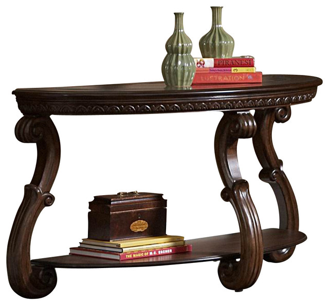 Homelegance Cavendish Half Moon Sofa Table With Gl Insert
