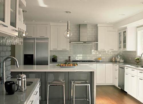 Sleek, Streamlined White Kitchen Cabinets