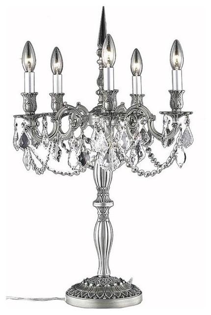 elegant lighting rosalia 28 u0026quot  5-light royal crystal table lamp - victorian - table lamps