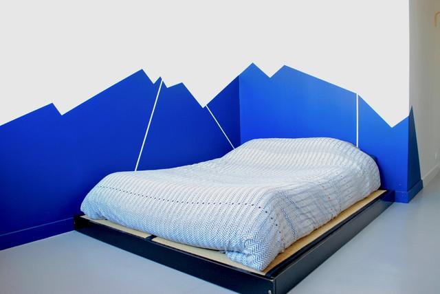 Fresque murale géométrique, tête de lit. - Moderne - Paris - par ...