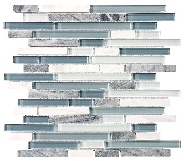 Bliss Bsws Stone And Gl Linear Mosaic Tile 12 X12 Contemporary