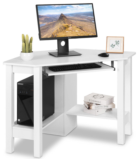 Costway Wooden Corner Desk With Drawer Computer Pc Table Study Office White Transitional Desks And Hutches By Goplus Corp