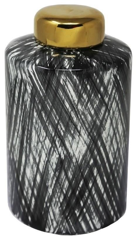 Sagebrook Home Ceramic 9 5 Ginger Jar Black White Contemporary Decorative Jars And Urns By Sagebrook Home