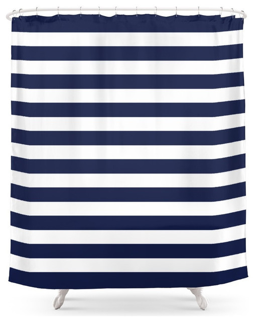 Society6 Stripe Horizontal Shower Curtain Navy Blue Shower Curtains Houzz