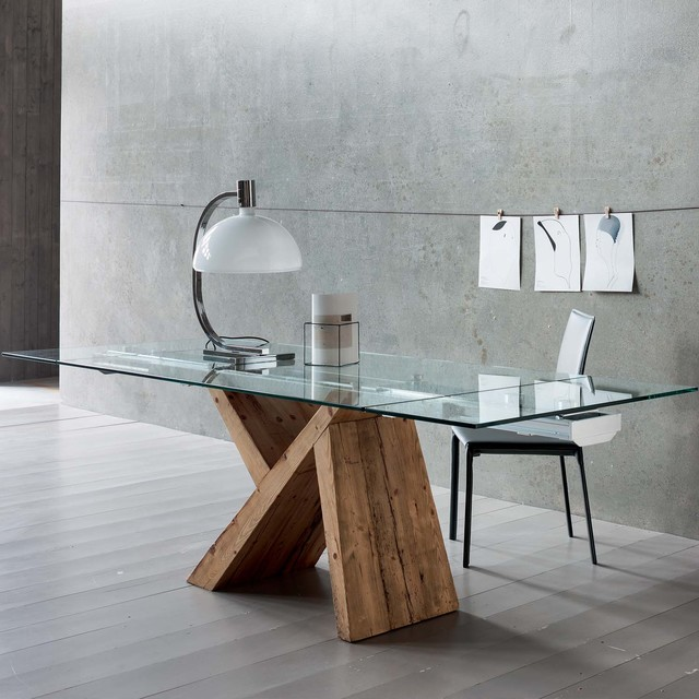 39 tabia 39 contemporary wooden dining table with glass top by