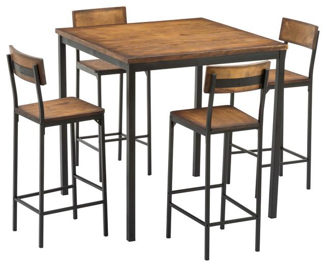 Magnificent Boraam Americano 5 Piece Bar Height Dining Set Natural Uwap Interior Chair Design Uwaporg