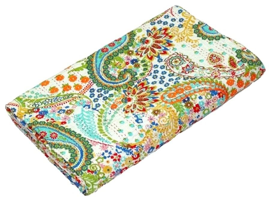 Vintage Kantha Reversible Quilt Bedding Bedspread Coverlet Throw Gudari Blanket