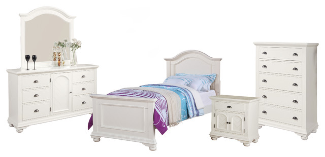 Addison 5-Piece Bed Set, Twin, White.