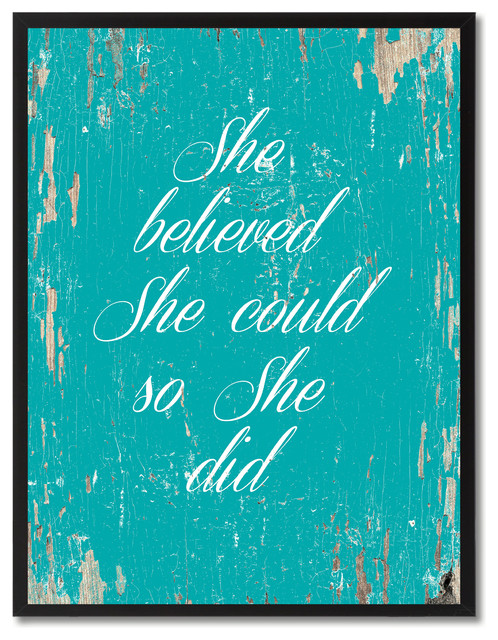 She Believed She Could So She Did Inspirational Canvas Picture
