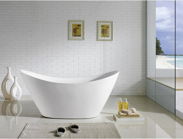 Kube Luna 68-Inch Free Standing White Bathtub Acrylic.