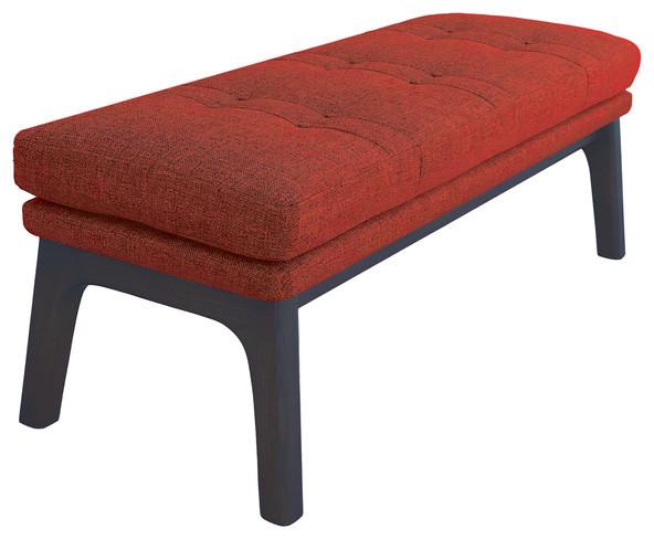 Superieur Mid Century Modern Ottoman Bench Footrest Pouf Rust Orange, Dark Wood Tone
