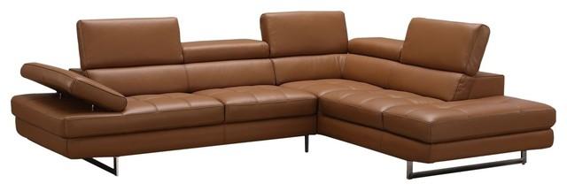 Astonishing A761 Italian Leather Sectional Sofa Caramel Right Hand Facing Chaise Machost Co Dining Chair Design Ideas Machostcouk