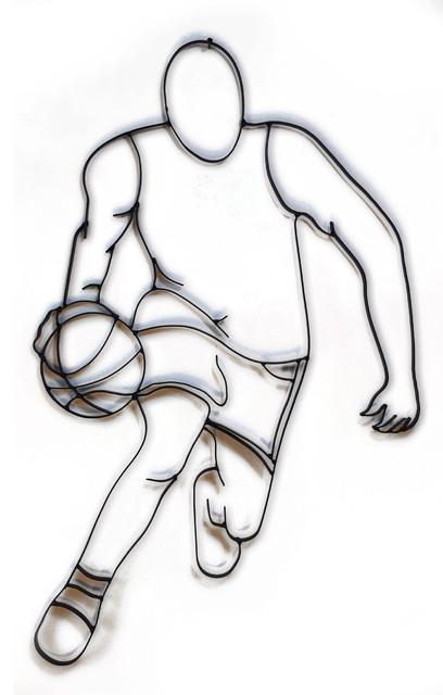 Basketball Fast Break Metal Wall Sculpture.
