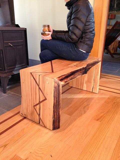 Live edge beech tree bench, walnut inlay