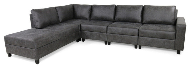 Swell Gdf Studio Kama Chaise 5 Seater Storage Microfiber Sectional Set Slate Black Ncnpc Chair Design For Home Ncnpcorg