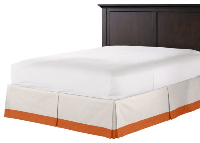 Pale Gray and Burnt Orange Linen Bed Skirt contemporary-bedskirts