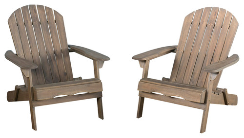 Denise Austin Home Milan Outdoor Folding Adirondack Chair, Set of 2, Gray