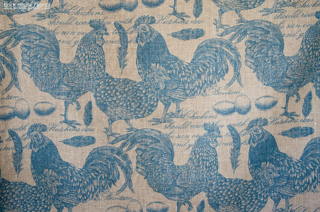 Chicken rooster toile fabric document script blue turquoise