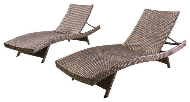 Lakeport Outdoor Mixed Mocha Wicker Armless Chaise Lounges, Set Of 2.