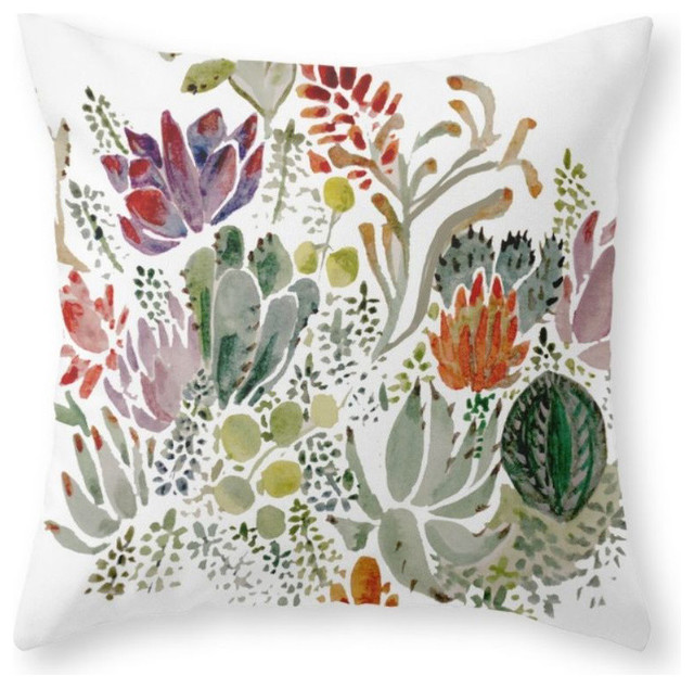 "Succulents Throw Pillow Cover, 18""x18"" With Pillow Insert."